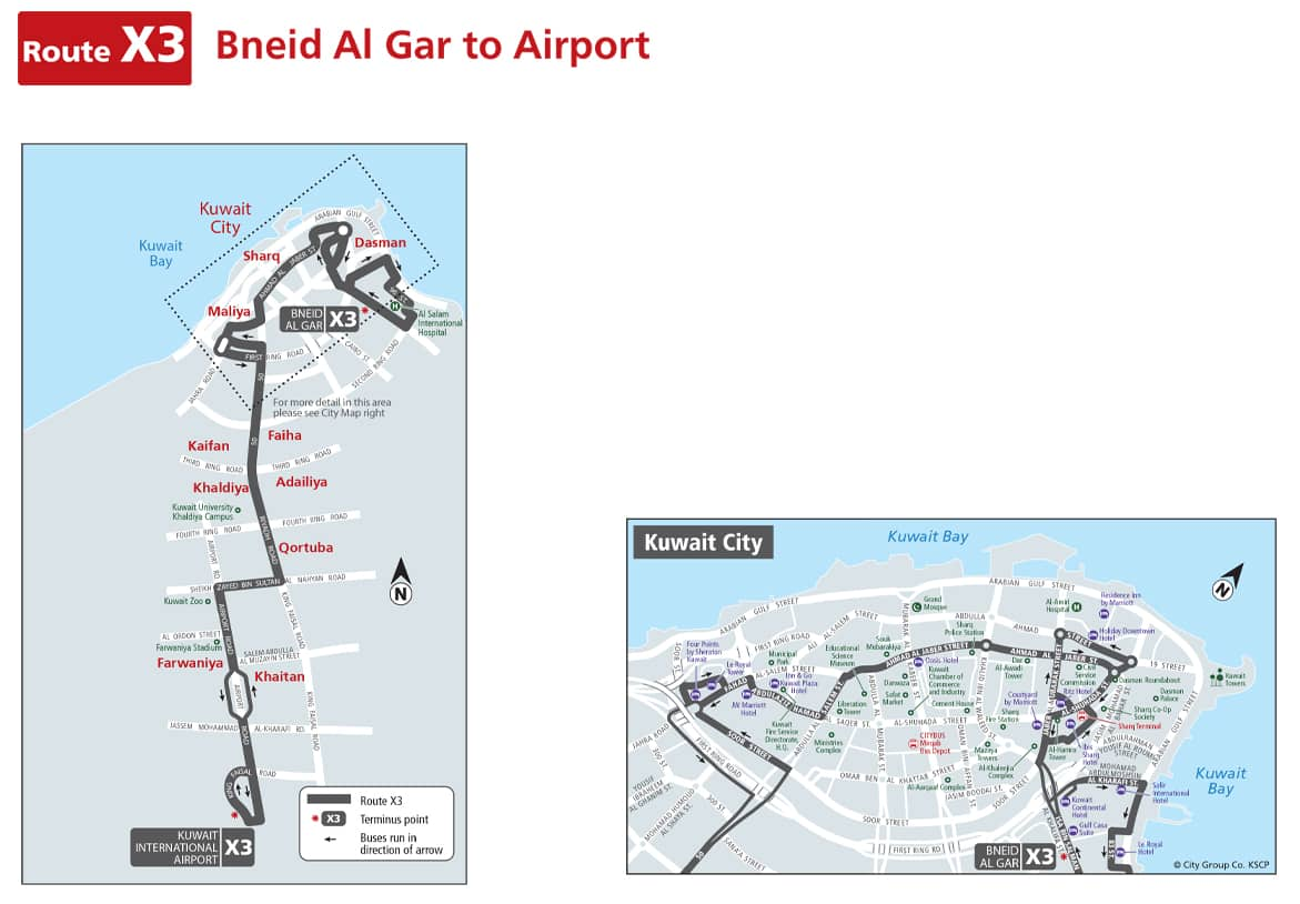 Kuwait Bus Route Number - X3 From Bnied Al Gar  To Airport 1
