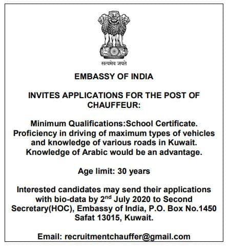 Driver required, Indian Embassy, Kuwait Job Vacancy, iiQ8