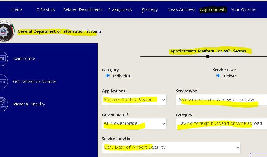 MOI Kuwait appointment system, online appointment, iiQ8, indianinq8