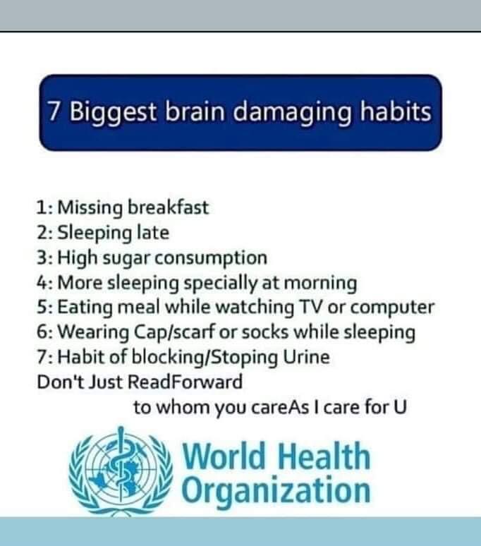 7 brain damaging habits, iiQ8 Info, WHO iiQ8 Health